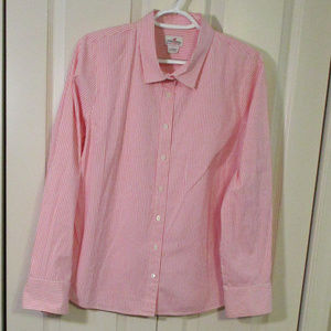 J.Crew Large Pink Stripe Blouse